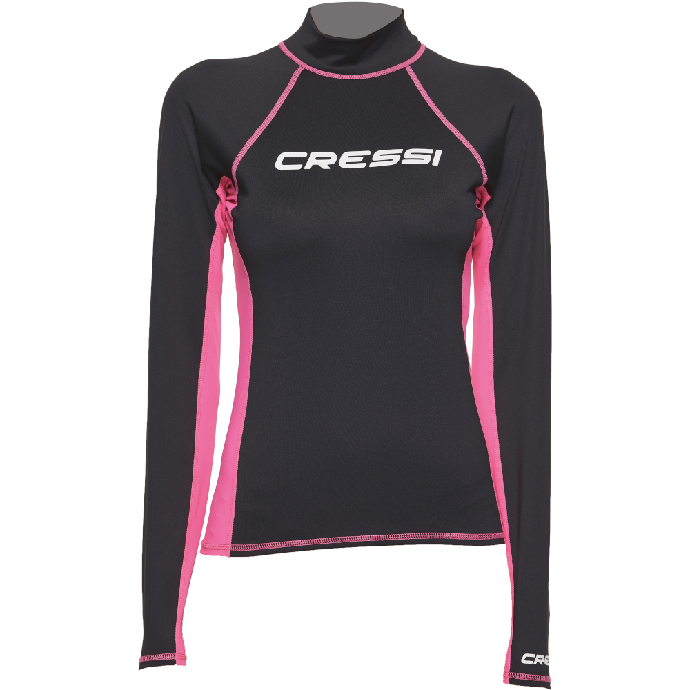 APOSTOLIDISDIVE CRESSI Rash Guard Long Lady Front-Black Pink