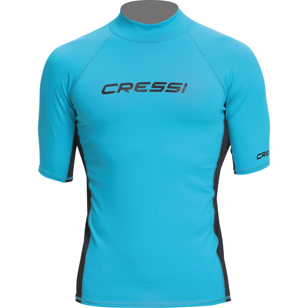 APOSTOLIDISDIVE CRESSI Rash Guard Short Man Front-AquaBlack