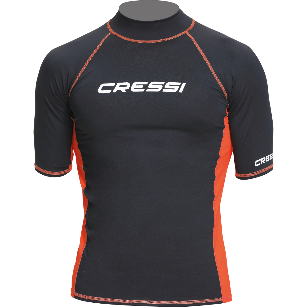 APOSTOLIDISDIVE CRESSI Rash Guard Short Man Front-Black Orange